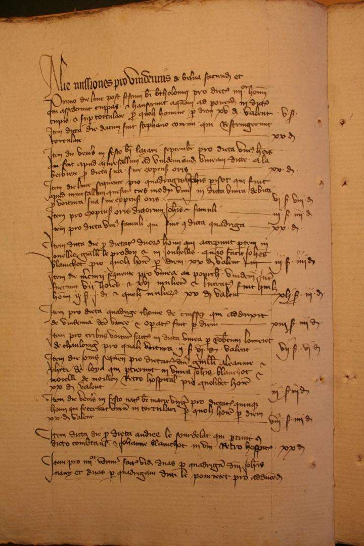 This page from the expenses of the Church of Notre-Dame of Neaune reveals the dates grape harvesters worked in 1385. Archives Départementales de la Côte d'Or, 2918/24, Thomas Labbe