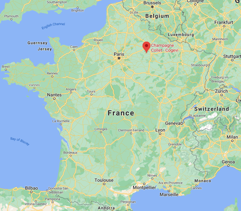 A map of France, indicating the location of Champagne Collet - Cogévy, in the northeastern area of France, near Belgium.