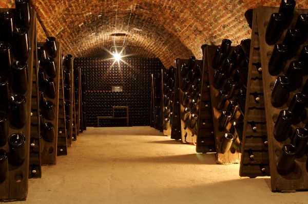 A slightly asymmetrical view down the hallway of the Champagne Collet-Cogévy cellars. Wooden planks that hold the champagne bottles downward for aging, flank both sides