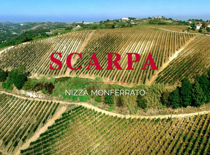 An aerial view of the Scarpa Winery and vineyards, with the Scarpa logo fixed in the center.