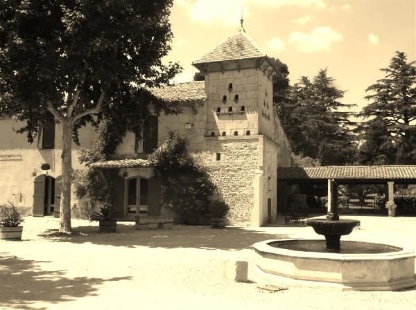 A sepia-toned photo of Château Paul Blanc, the home of Mas Carlot Winery.