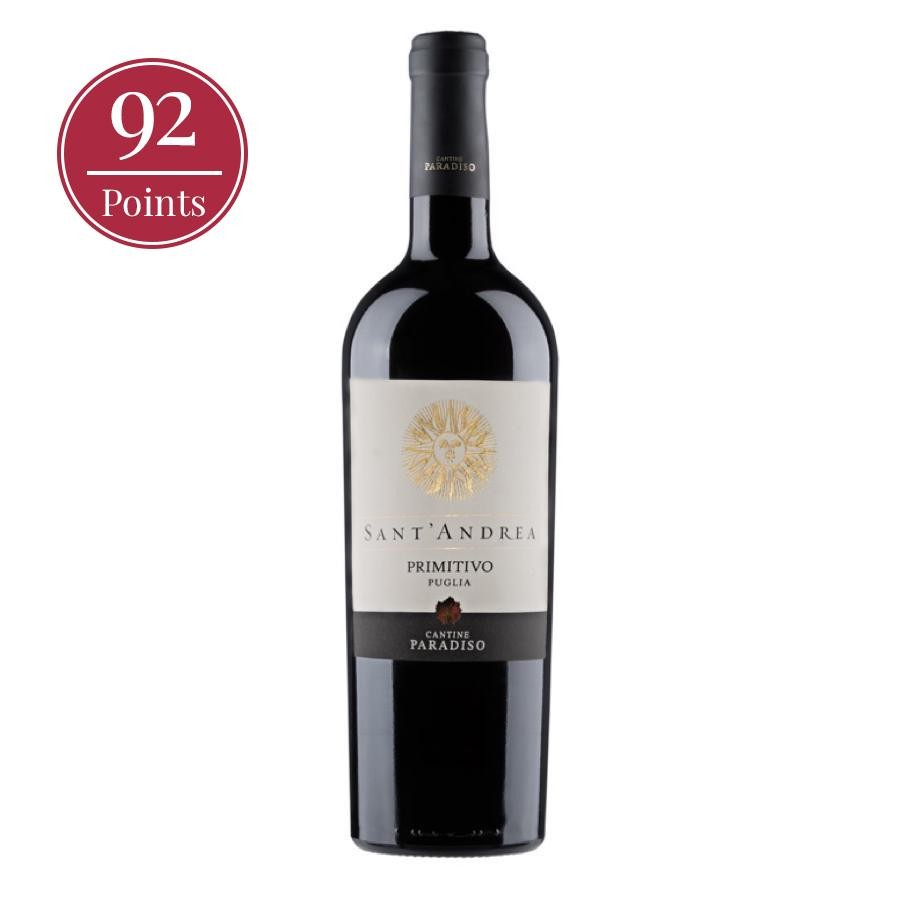 A 750mL bottle of Sant'Andrea Primitivo Puglia by Cantine Paradiso stands against a plain white background, 92 point badge to the top left side of it.
